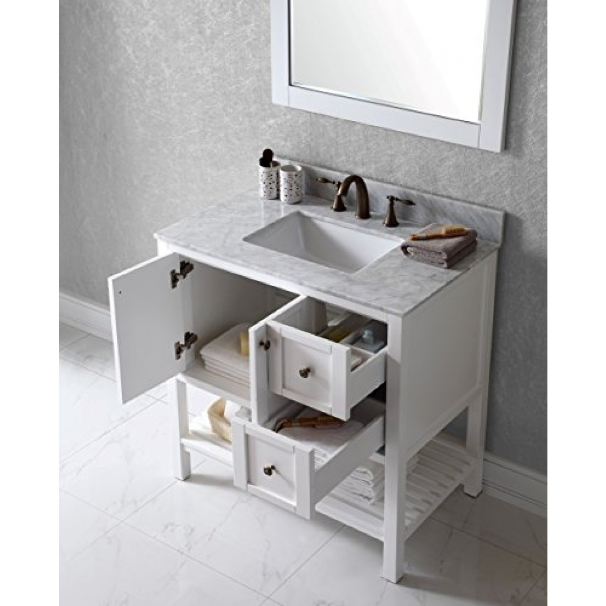 discobath virtu usa es 30036 wmsq awh winterfell 36 inch single bathroom vanity set white buy. Black Bedroom Furniture Sets. Home Design Ideas