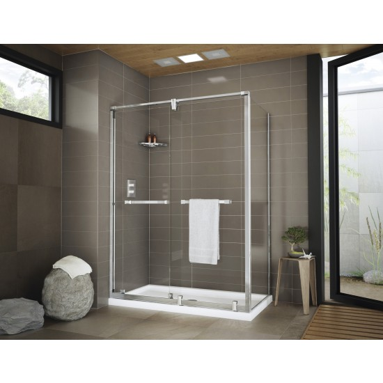 "Fleurco 69""-72"" x 74 1/2"" Axent Bypass 2 Sided Sliding Shower Door 3/8"" glass with return panel"