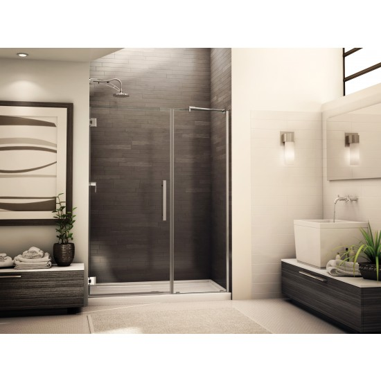 "Fleurco Platinum Kara 46 5/8"" to 47 5/8"" x 75"" Shower door with fixed panel"