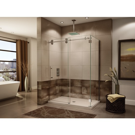 "Fleurco Kinetik KTWR Two-sided 67 1/4"" to 69 1/4"" x 79"" frameless sliding door with fixed panel and with return panel"
