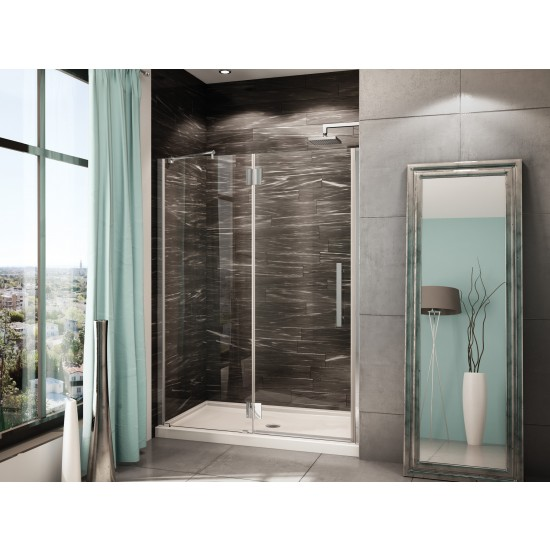 "Fleurco Platinum In-line 56 1/8"" to 57 3/8"" x 75"" Shower door with fixed panel"