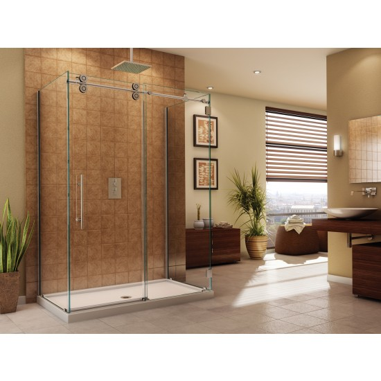 "Fleurco Kinetik KT Three-sided 67 1/2"" to 69 1/2"" x 79"" frameless sliding door with fixed panel and with return panel"