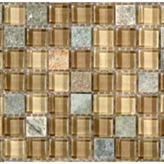"Glass and Slate srs. GS19 Contemporary Mocha Mosaic 12"" X 12"" 5 pcs."
