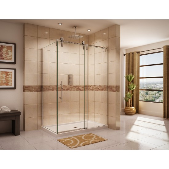 "Fleurco Kinetik KSPR Two-sided 45 7/8"" to 46 3/8"" x 79"" frameless sliding door with fixed panel and with return panel"