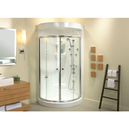 "Maax 37 "" x 37 "" x 78 "" Freestyle (1-piece) Round Acrylic Alcove Shower unit"