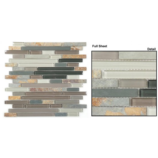 "Glass and Slate srs. GS08 Northampton Putty (Random Brick) Mosaic 12"" X 12"" 5 pcs."