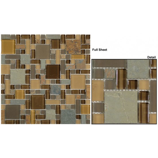 "Glass and Slate srs. GS26 Mineral Cliff (Block Random) Mosaic 12"" X 12"" 5 pcs."