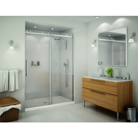 "Maax Halo 5/16"" Frameless 44 1/2 - 47 "" x 79 "" Chrome Sliding Shower door"