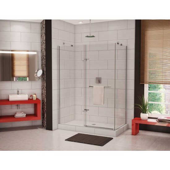 "Maax Reveal 71 corner 5/16"" Frameless 44 - 47 "" x 71 1/2 "" Chrome Pivot Shower door with return panel"