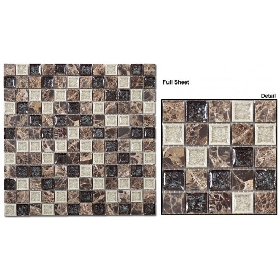 "Tranquil 1 x 1 srs. TS909 Chocolate Blend Mosaic 12"" X 12"" 5 pcs."