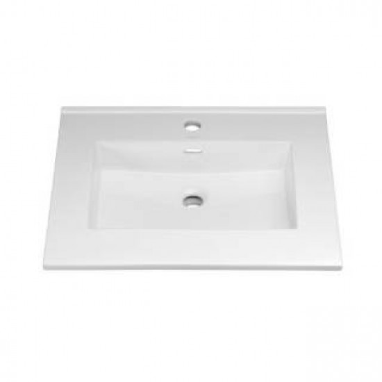 """RonBow 215524-1-WH 24"""" Single Hole Ceramic Lavatory Top with Integrated Sink in White"""