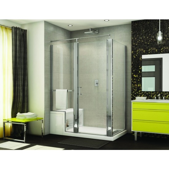 "Fleurco Banyo Sevilla 57"" x 75"" Frameless Pivot Shower door (base with seat)"