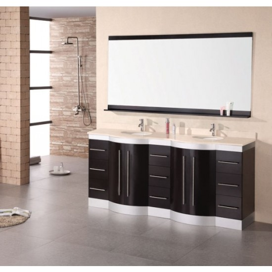 "Design Element Jade Jade 72"" Double Sink Vanity Set w/ Travertine Stone Countertop DEC023-TTP"