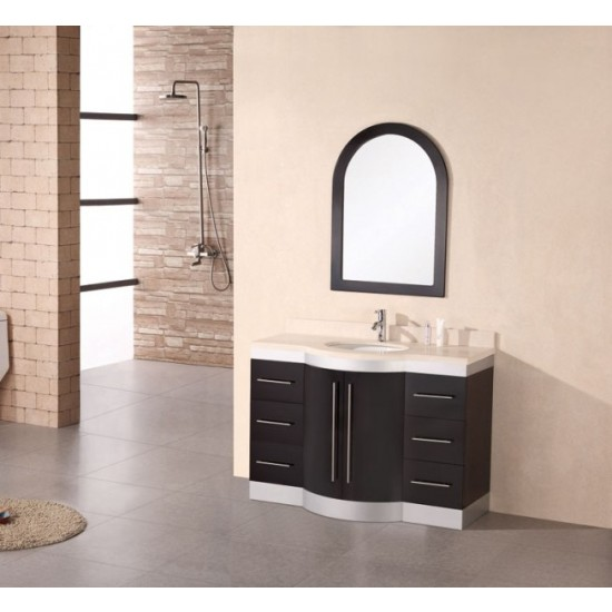 "Design Element Jade 48"" Single Under-Mount Sink Vanity with Travertine Top DEC024-TTP"