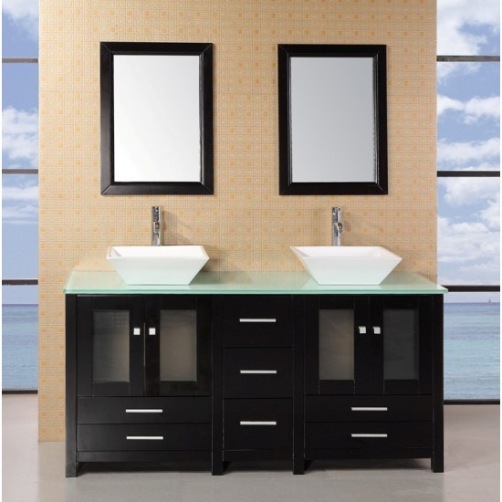 "Design Element Arlington 61"" Double Sink Vanity Set DEC072B-G"
