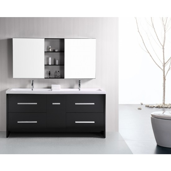 "Design Element Perfecta 72"" Double Sink Vanity Set DEC079B"