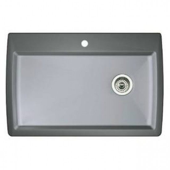 Blanco 440193 Diamond Metallic Gray Super Single Bowl Silgranit Drop In Kitchen Sink