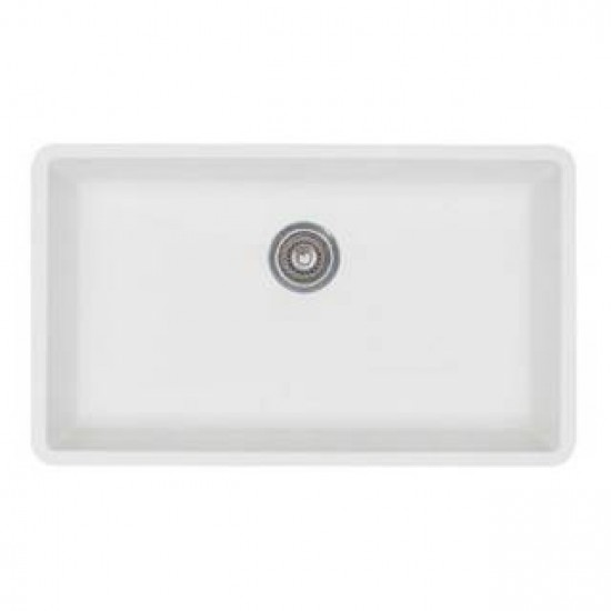 Blanco 440150 Precis White Super Single Bowl Silganit Undermount Sink
