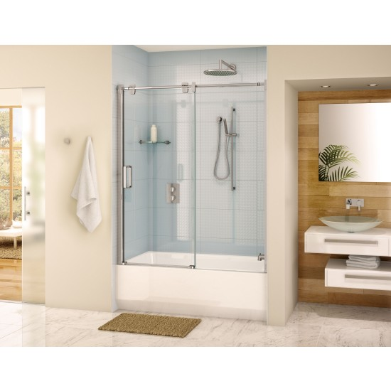 "Fleurco Glide Tub Enclosure 57""- 58"" x 66"" Frameless Sliding Shower door and fixed panel"
