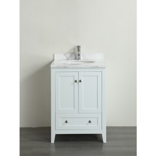 Eviva Lime® 24″ Bathroom Vanity White with White Marble Carrera Top