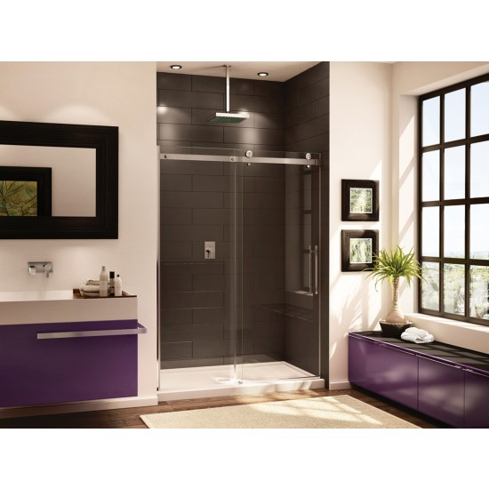 "Fleurco Novara In-line 48"" x 75"" Frameless Sliding Shower door and fixed panel"