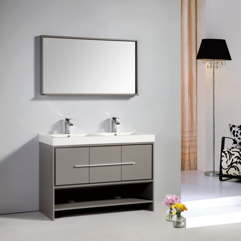 DiscoBath Dowell Modern Double Sink Bathroom Vanity - Bathroom vanities gray color