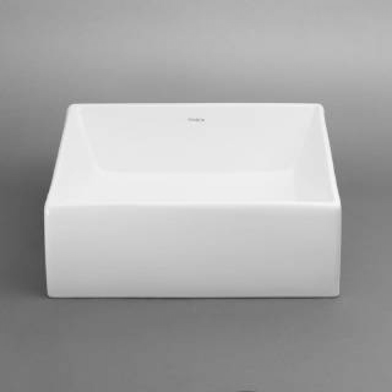 RonBow 200033 WH Square Ceramic Vessel Sink Without Overflow In White