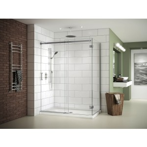 "Fleurco 45""-48"" x 75"" Apollo In-line Sliding Shower Door 1/4"" glass with fixed panel and return panel"
