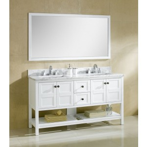 "Dowell 60"" 005 60 01 Traditional Double Sink Bathroom Vanity White"