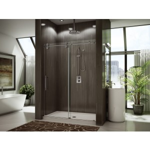 "Fleurco Kinetik KT in-line 55"" to 57"" x 79"" frameless sliding door with fixed panel"