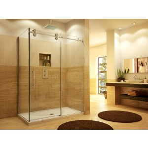 "Fleurco Kinetik KTPR Two-sided 69 1/4"" to 71 1/4"" x 79"" frameless sliding door with fixed panel and with return panel"