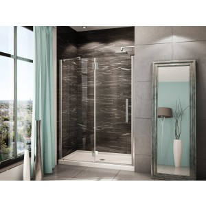 "Fleurco Platinum In-line 58 1/8"" to 59 3/8"" x 75"" Shower door with fixed panel"