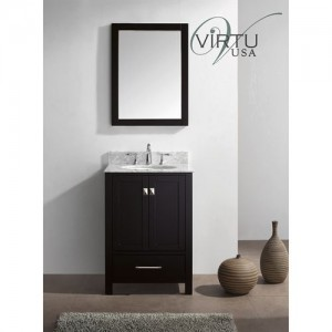 "Virtu USA GS-50024-WMRO-WH Caroline Avenue 24"" Single Round Sink Bathroom Vanity with Italian Carrara White Marble Countertop"
