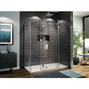 "Fleurco Evolution 6' 31"" x 75"" walk in shower system (Cont'd) with 2 return panels"