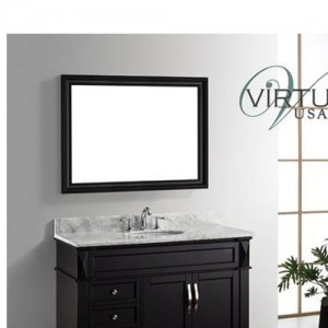 "Virtu USA MS-2648-WMRO-WH Victoria 48"" Single Round Sink Bathroom Vanity Set with Italian Carrara White Marble Countertop"