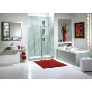 "Maax Kleara 2-panel 1/4"" Frameless pivot 57 1/2"" - 60 1/2"" x 69"" Aclove shower door"