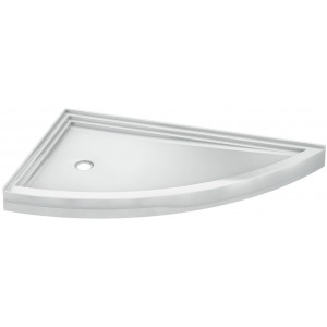 "Fleurco Acrylic Shower Base Left side 66""x38""x5"" Slice corner drain 2 integrated tile flanges"