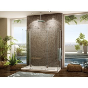 "Fleurco Evolution 6' 32"" x 75"" walk in shower system (Cont'd) with return panel"