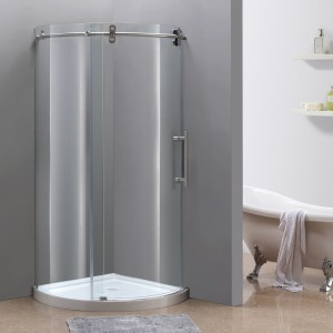 "Aston Global SEN980 40"" x 40"" Orbitus Frameless Round Shower Enclosure in Stainless Steel with Left Opening with Base"