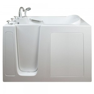 Narrow 4.42 ft. x 26 in. Walk-In Air Massage Left Drain Bathtub in White