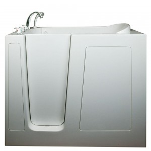 Deep 4.58 ft. x 30 in. Walk-In Air Massage Bathtub in White with Left Drain/Door