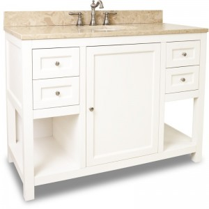 "Hardware resources Astoria Modern 48"" vanity with cream white finish"