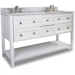 "Adler 60"" double vanity with sleek white finish"
