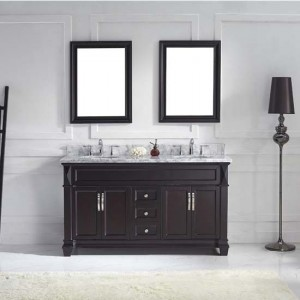"Virtu USA MD-2660-WMSQ-ES Victoria 60"" Double Square Sink Bathroom Vanity Set with Italian Carrara White Marble Countertop - Vanity Top Included"