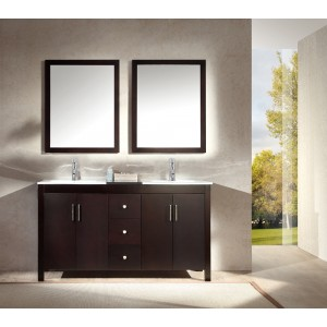 "Ariel Hanson 60"" Double Sink Vanity Set in Espresso"