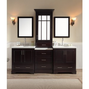 "Ariel Stafford 85"" Double Sink Vanity Set in Espresso w/ Center Medicine Cabinet"