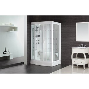 "Aston Global ZA219 85"" Steam Shower With 24 Body Jets in White, Right Drain"