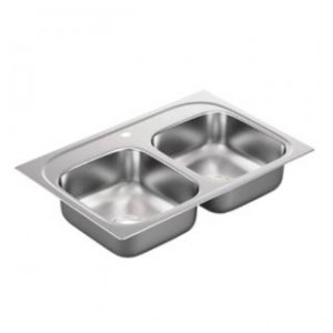 "Moen G222171 2200 Series 33""L x 22""W x 6-1/2""D 1 Hole Drop In Double Basin Kitchen Sink with Center Drain"