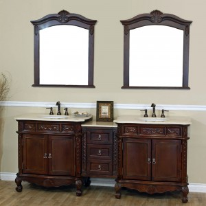 "Bellaterra Home 202016A-D-CR Ashby 83"" Antique Walnut Finish Double Bathroom Vanity"