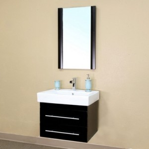 "Bellaterra Home 203102-S Castelli Black Finish 24"" Modern Single Sink Bathroom Vanity"